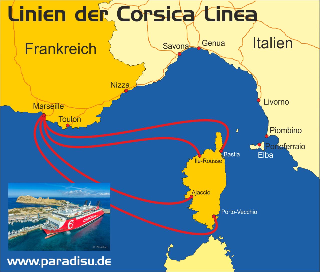 Karte Fähre Korsika Corsica Linea