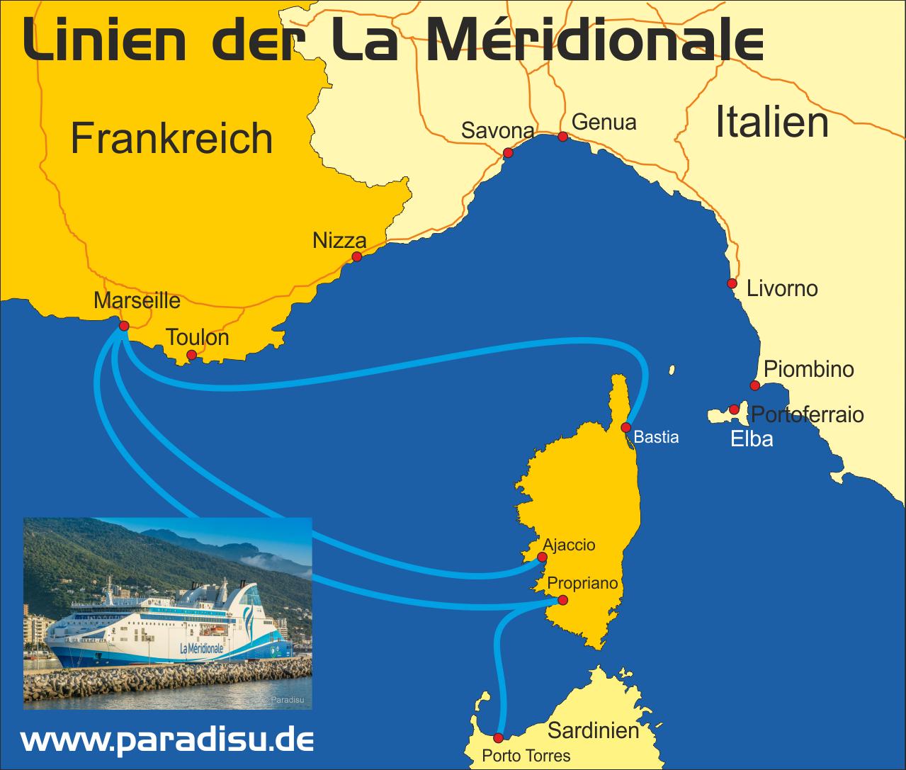 Karte Fähre Korsika La Meridionale