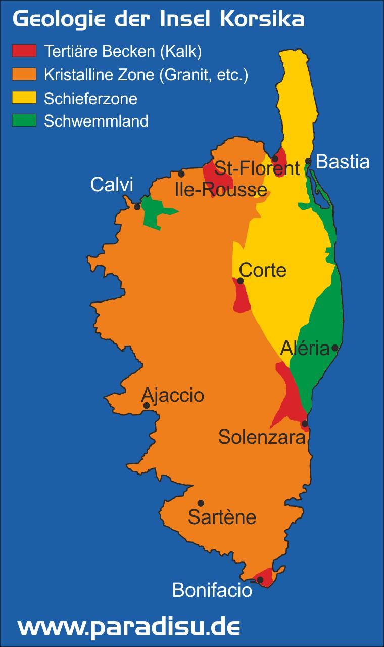 Karte Geologie der Insel Korsika