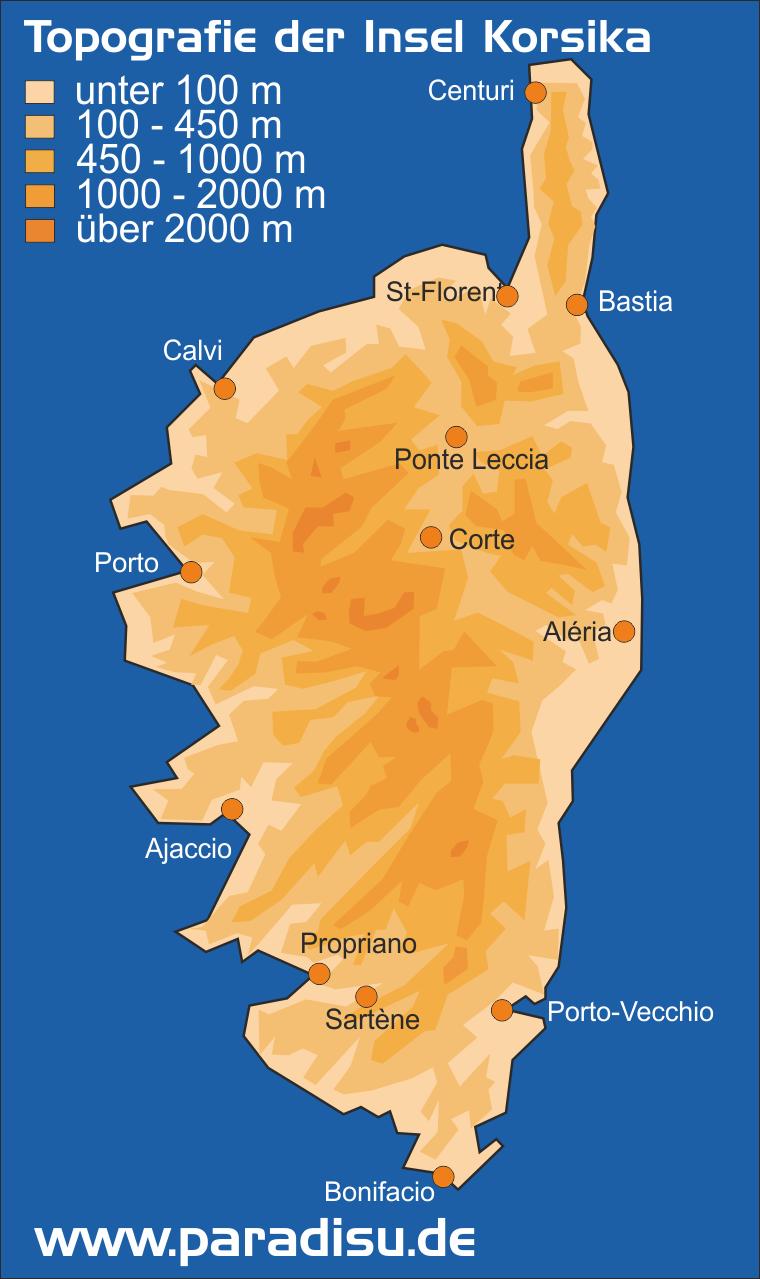 Karte Höhenprofil der Insel Korsika