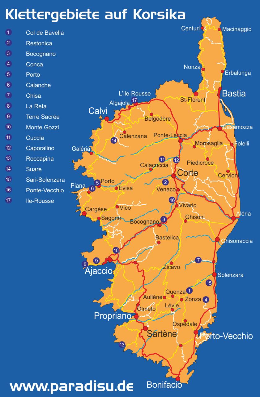 Klettern auf Korsika Gebiete