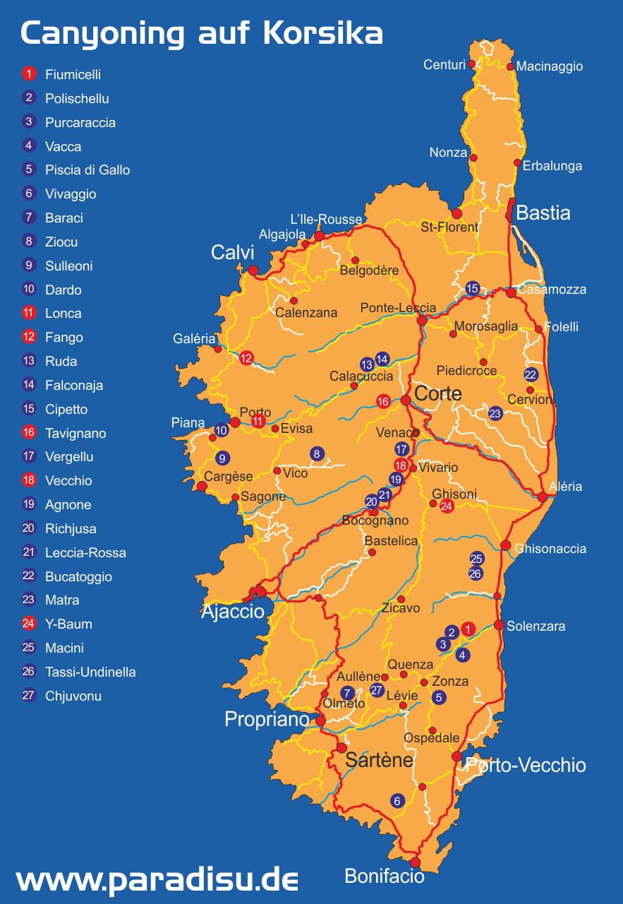 Korsika Canyoning Karte
