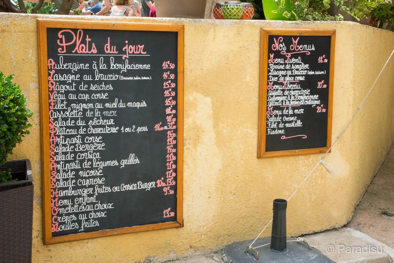Restaurant Korsika Übersetzungshilfe