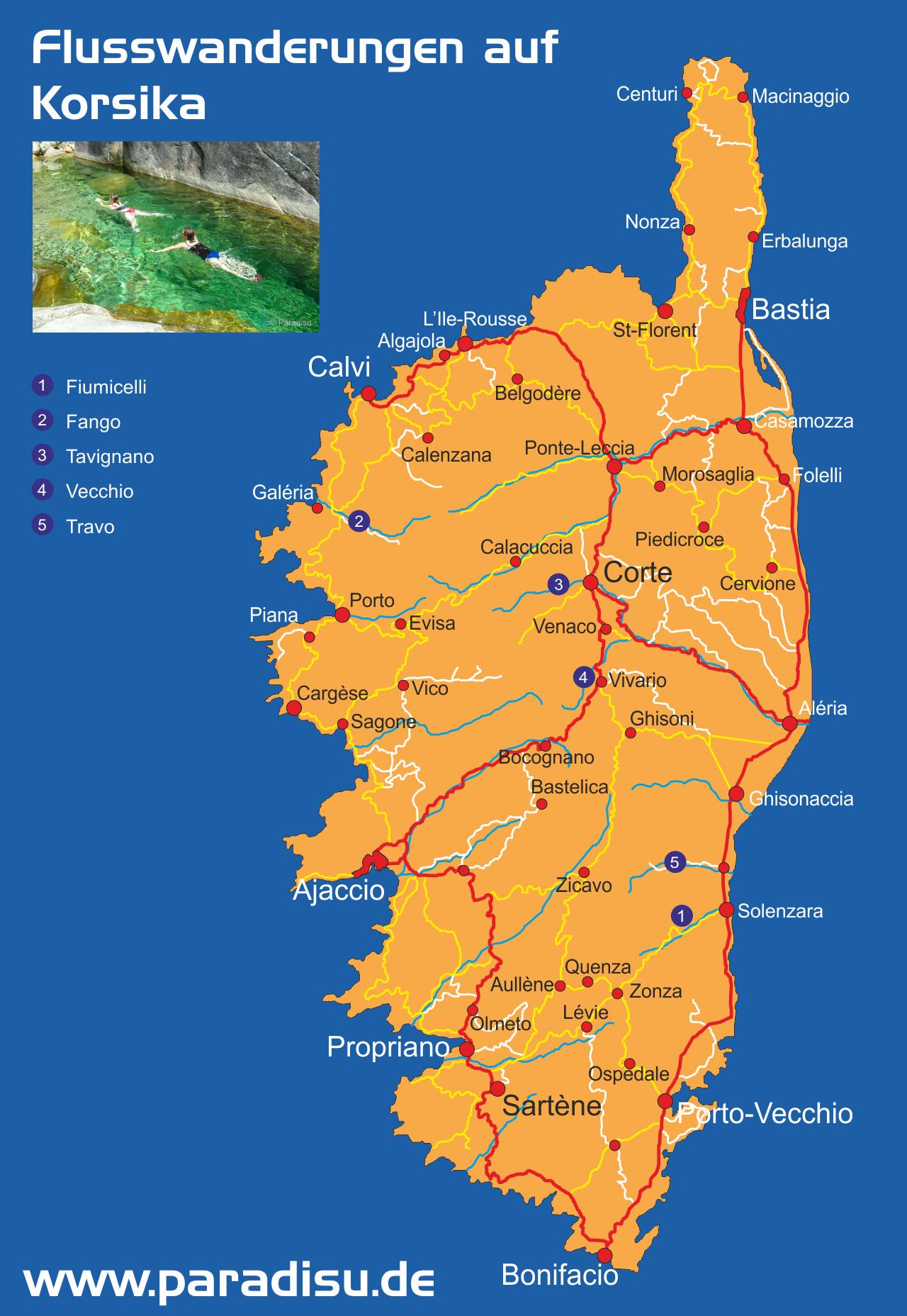Korsika Flusswandern Karte