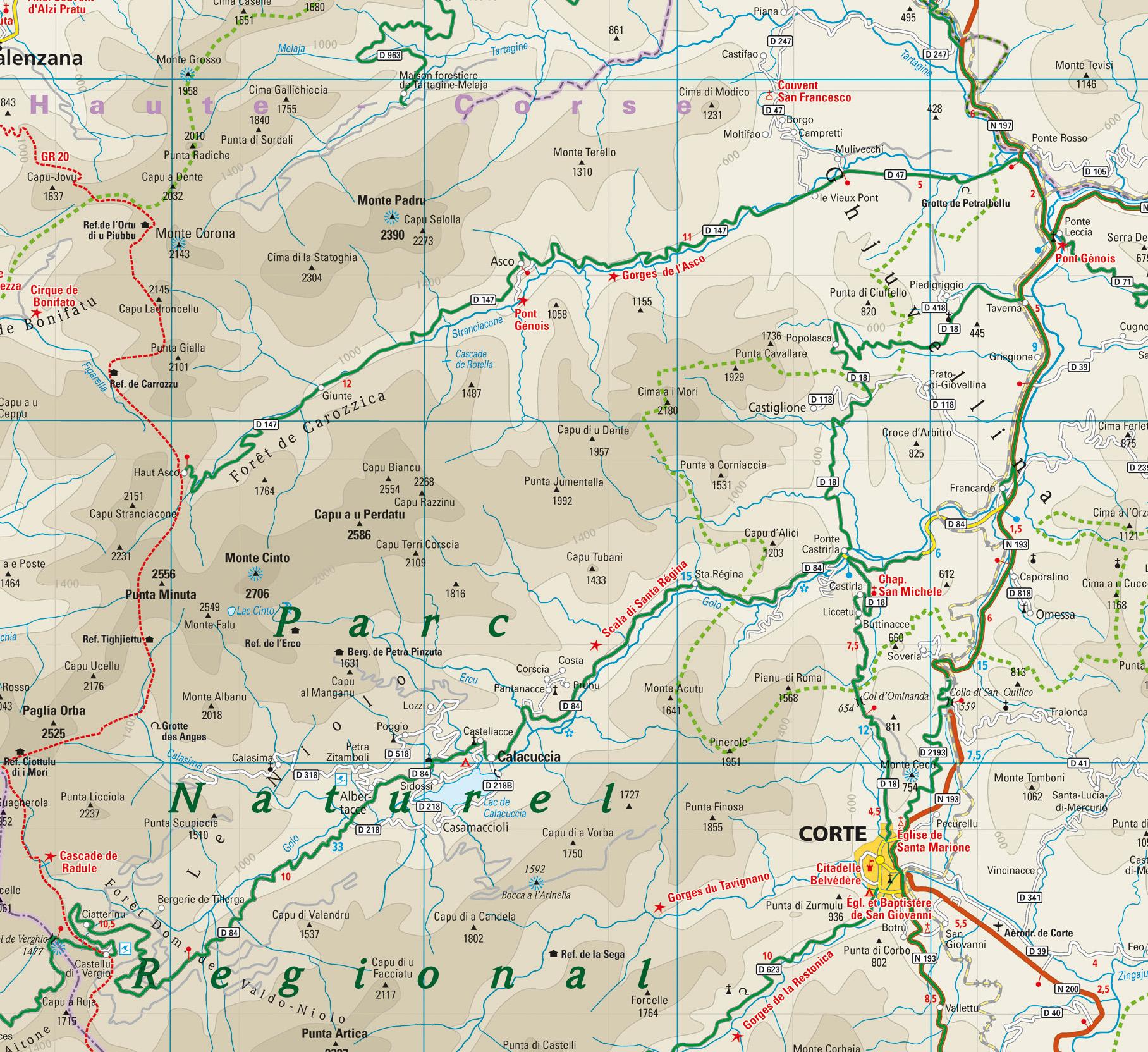 Karte Korsika Ascotal Und Niolo