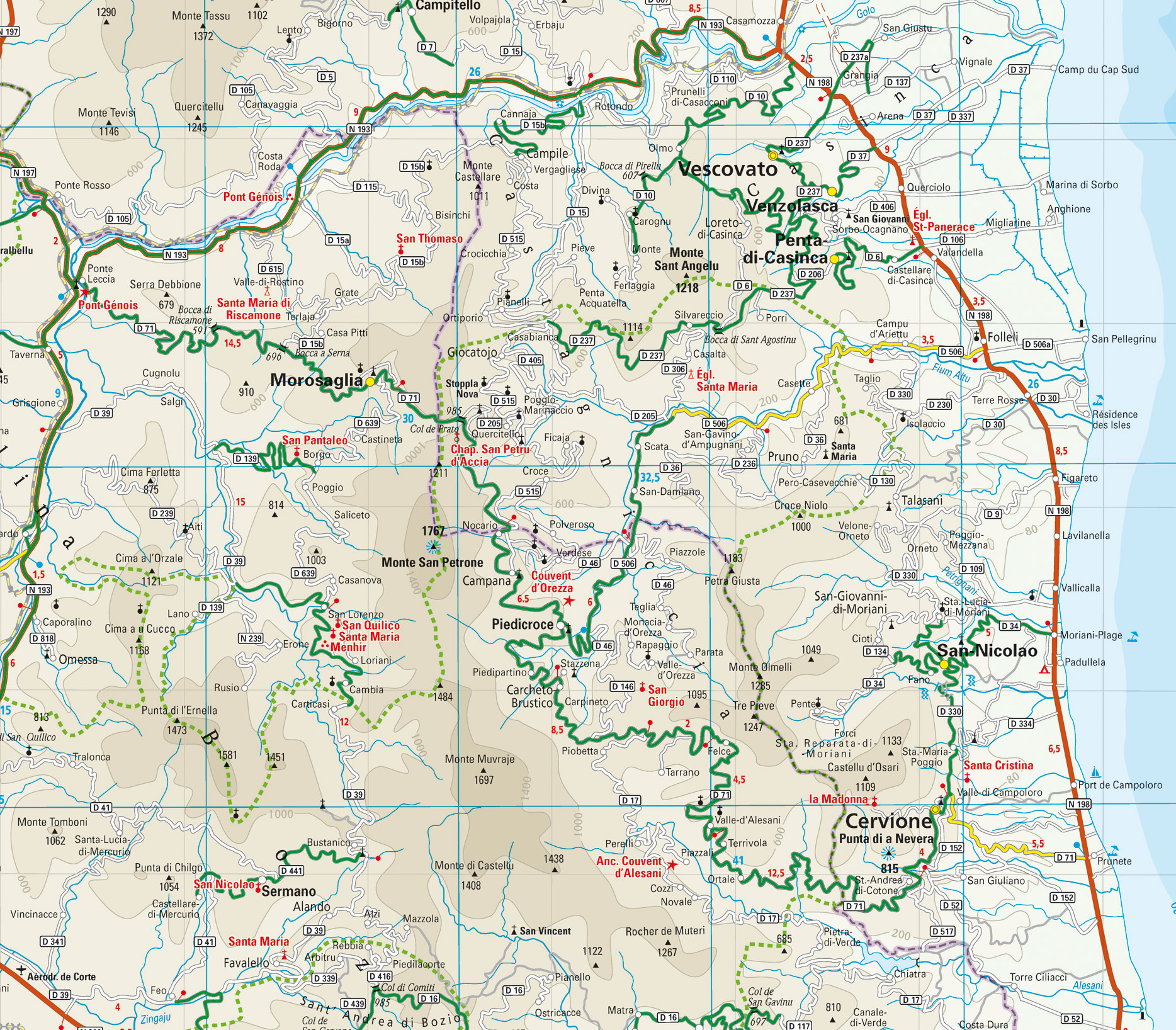 Karte Korsika Castagniccia Und Casinca