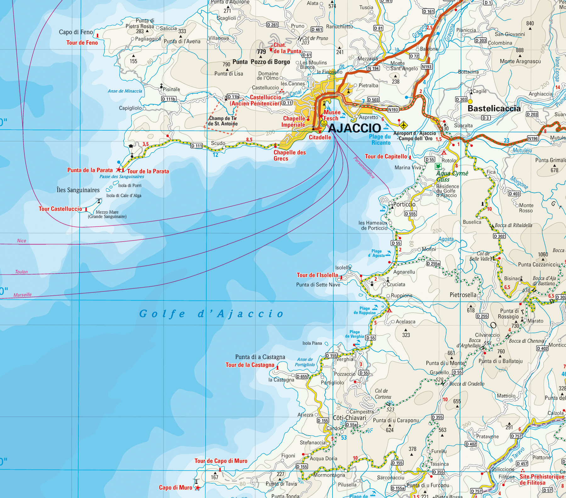 Karte Golf Von Ajaccio