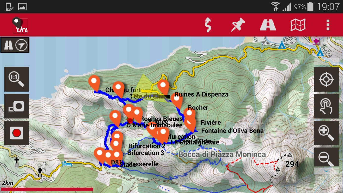 Korsika Karte digital oruxmaps