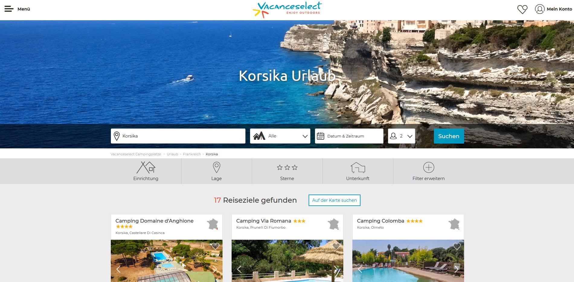 Vacanceselect Korsika Camping mit Niveau